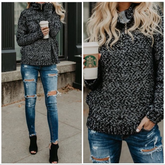Sweaters - TINA BLACK GREY long sleeves turtle neck sweater